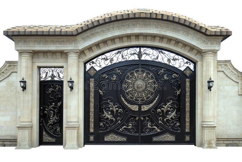 Grandes portas e portas do ferro forjado imagem de stock