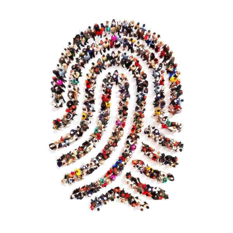 Grandes povos do PF do grupo na forma de uma impressão digital em um fundo branco ilustração do vetor