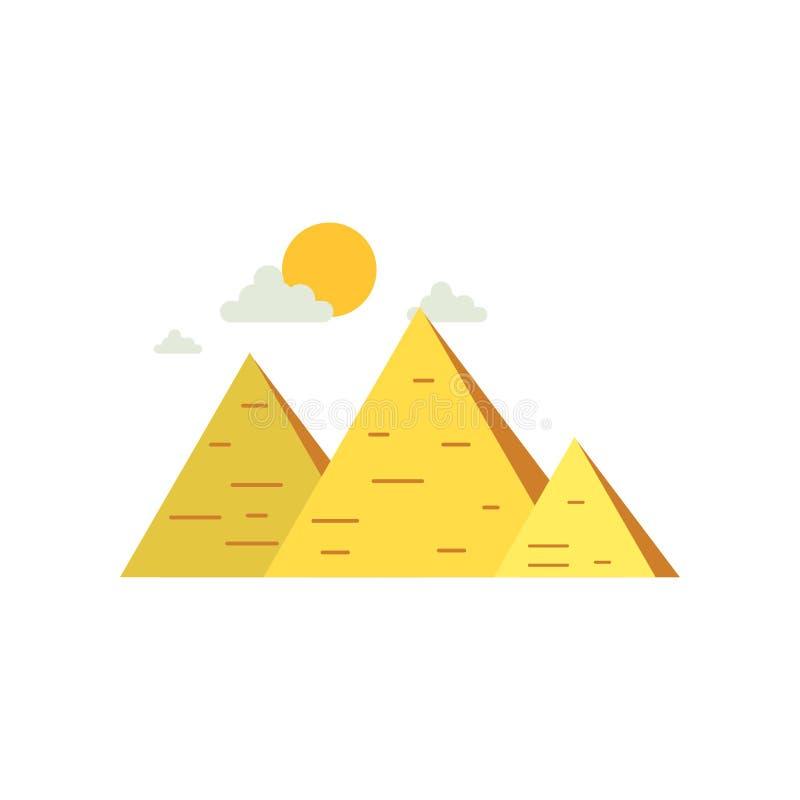 Grandes pyramides de l'Egypte, signe d'illustration égyptienne traditionnelle de vecteur de culture illustration libre de droits