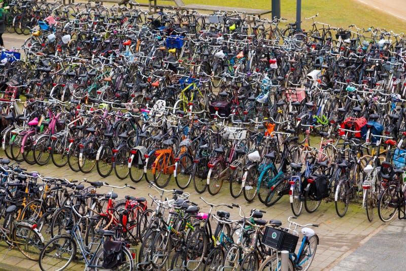 Grandes quantidades de bicicletas em Amsterdão fotografia de stock royalty free