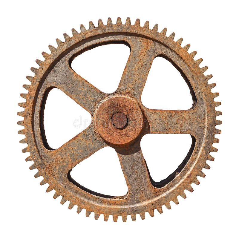 Grandes rodas denteadas da roda de engrenagem oxidadas no fundo branco fotografia de stock royalty free