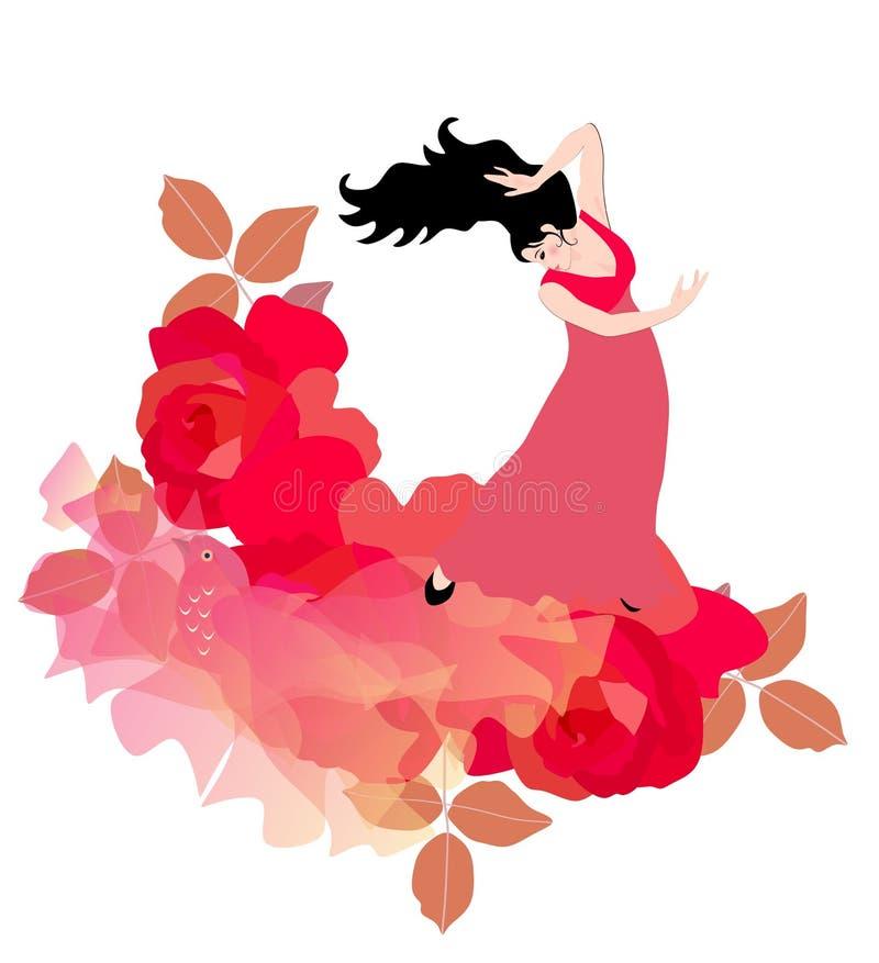 Grandes rosas vermelhas, um xaile pássaro-dado forma de voo e um dançarino espanhol do flamenco ilustração do vetor