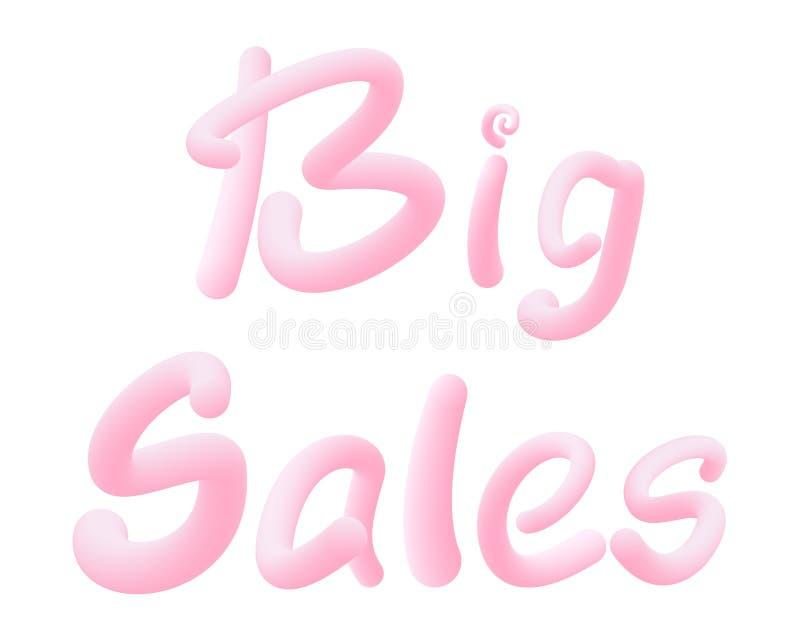 Grandes vendas Cartas feitas de chiclete para promoção de cartaz/banner Texto da pastilha Isolado sobre fundo branco ilustração royalty free
