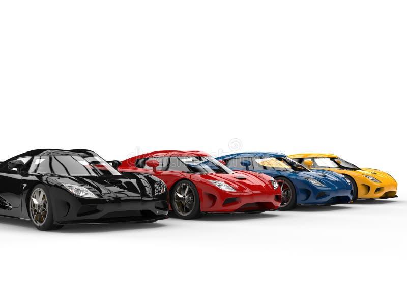 Grandes voitures de concept de sports dans diverses couleurs illustration stock