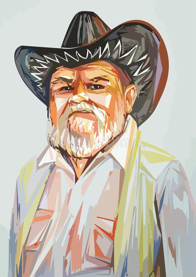Grandfather in a cowboy hat stock photography