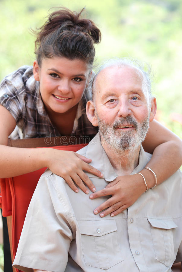 Grandfather and grandaughter stock image