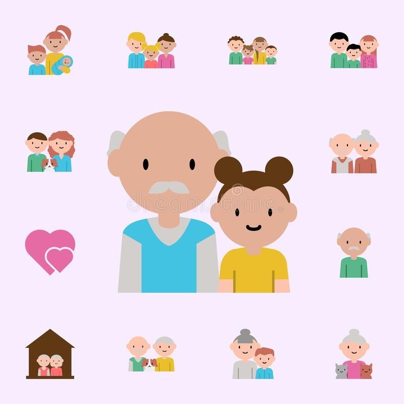 grandfather, granddaughter cartoon icon. family icons universal set for web and mobile vector illustration