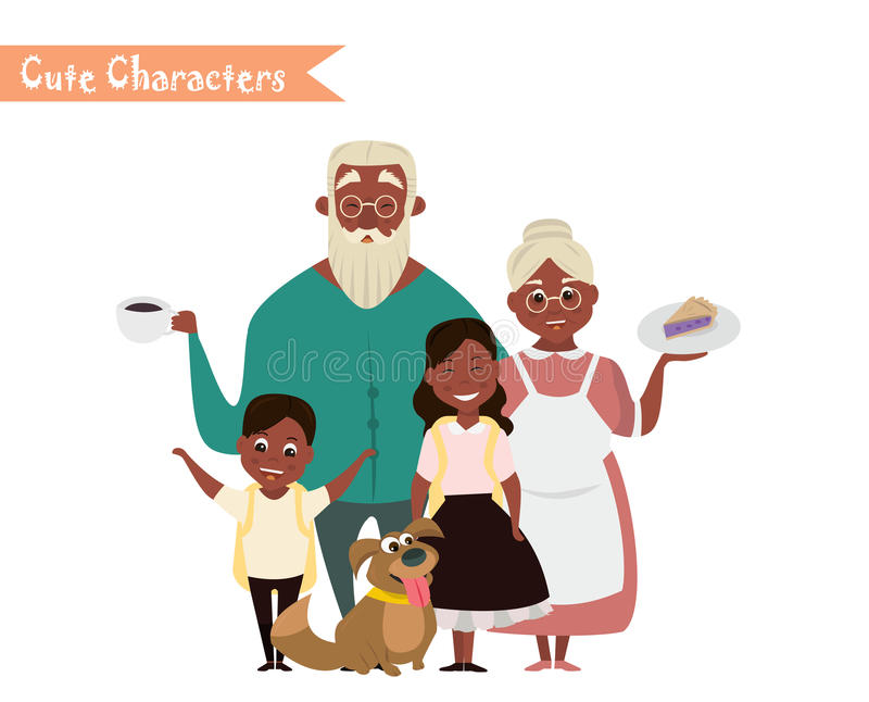 Grandfather and granddaughter, grandmother and grandson. vector illustration