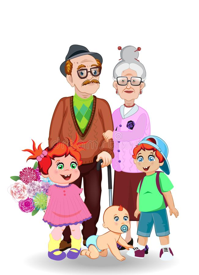 Grandfather, grandmother, granddaughter, grandson and baby together royalty free illustration