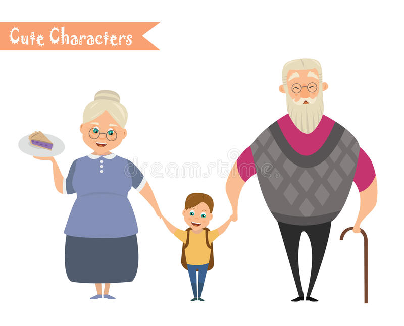 Grandfather, grandmother and grandson together. Happy family vector illustration