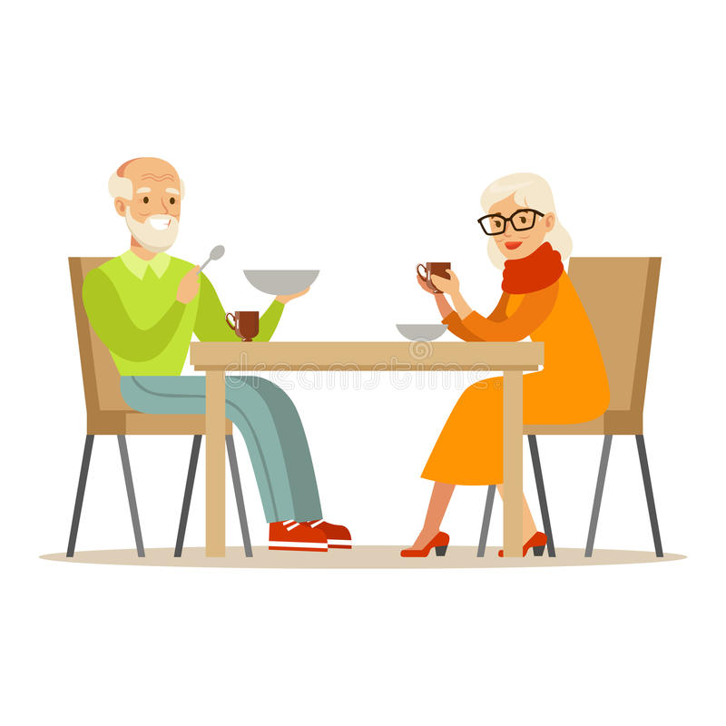 Grandfather And Grandmother Having Dinner, Part Of Grandparents Having Fun With Grandchildren Series royalty free illustration