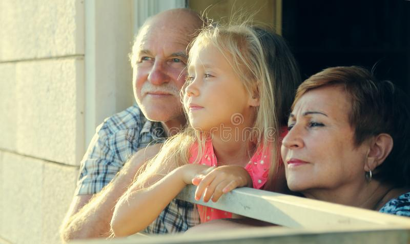 Grandfather and grandmother holding granddaughter stock image