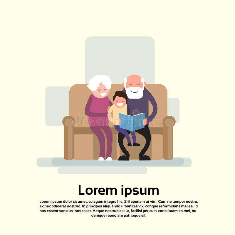 Grandfather And Grandmother Sit With Grandson Read Book Small Child royalty free illustration