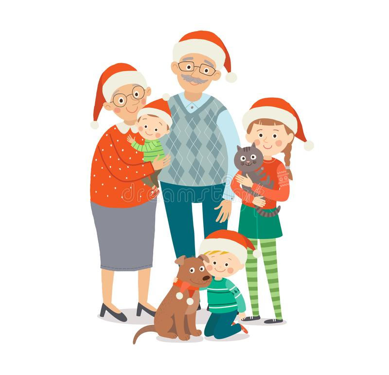 Grandfather and grandmother with three grandchildren in red Christmas hat. Christmas family portrait. Cartoon vector stock illustration