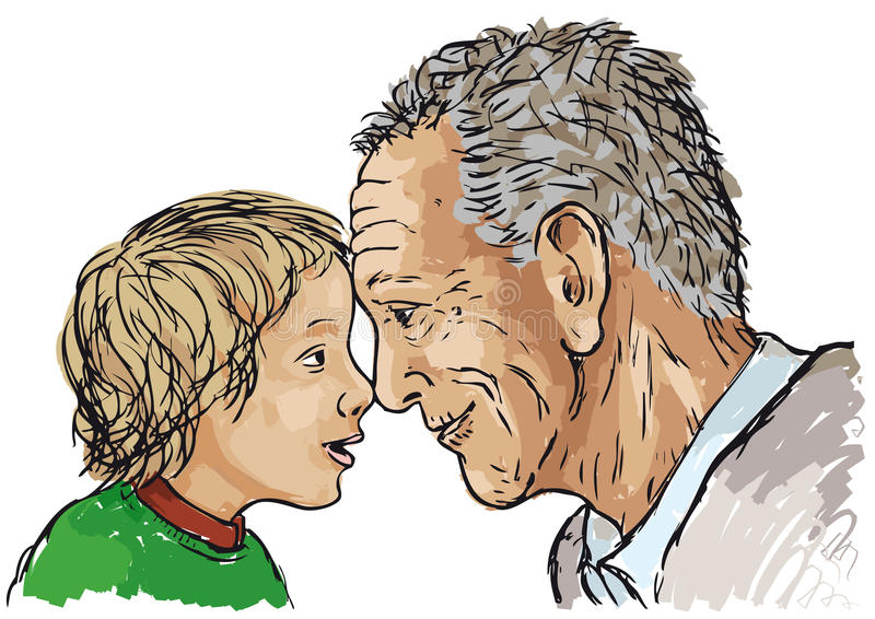 Grandfather and grandson. Grandfather and granddaughter next to each other vector illustration