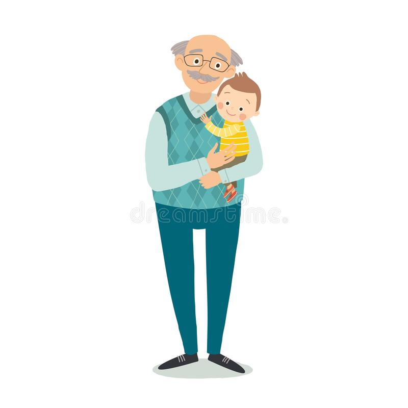 Grandfather with grandson. Family photo. Grandparents day greeting card concept. Cartoon vector hand drawn eps 10 stock illustration