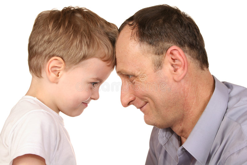 Grandfather grandson forehead royalty free stock photography
