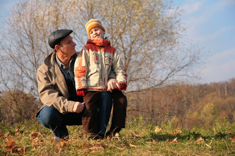 Download Grandfather And Grandson In Wood Stock Image - Image: 8360443