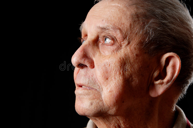 Grandfather looking stock photo