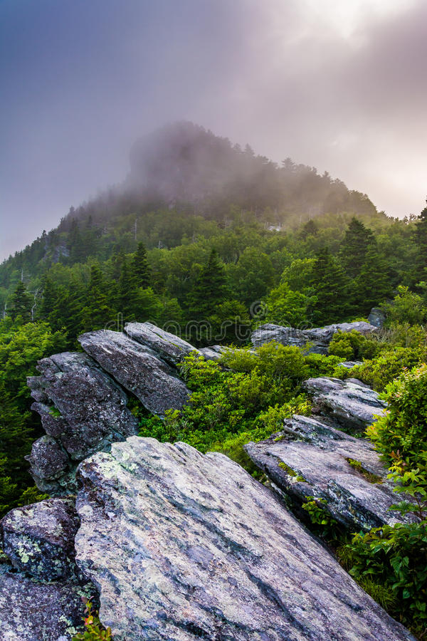 Grandfather Mountain in fog, near Linville, North Carolina. Grandfather Mountain in fog, near Linville, North Carolina royalty free stock photography