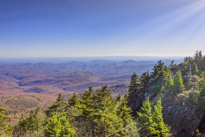 Grandfather Mountain in Linville, North Carolina stock photos