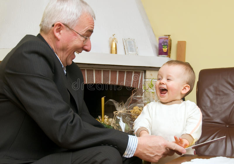 Download Grandfather Playing With Child Stock Photo - Image: 12387884