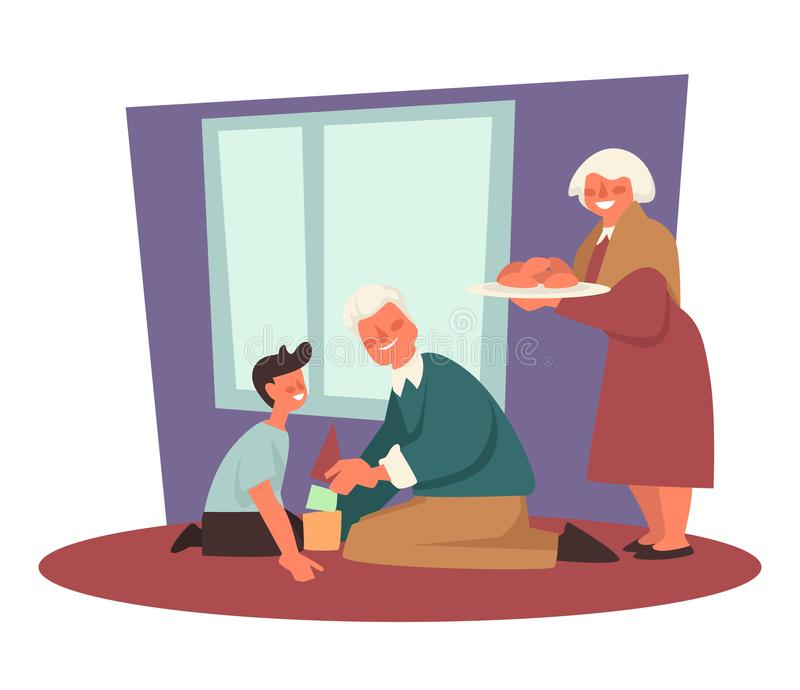 Grandfather playing with grandchild, grandmother with patties, grandparents. Grandparents, grandfather spending time with grandson, constructing pyramid vector royalty free illustration