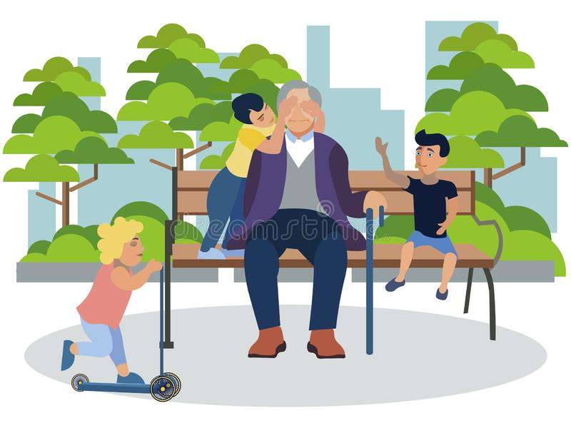 Grandfather playing with grandchildren in the park. In minimalist style Cartoon flat Vector royalty free illustration