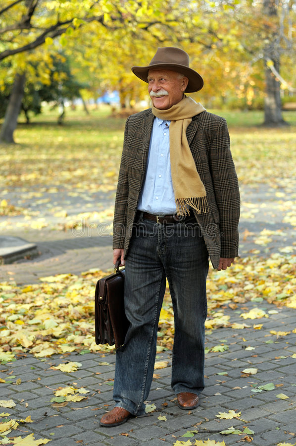 Download Grandfather Portrait In Park Stock Photo - Image: 7143036