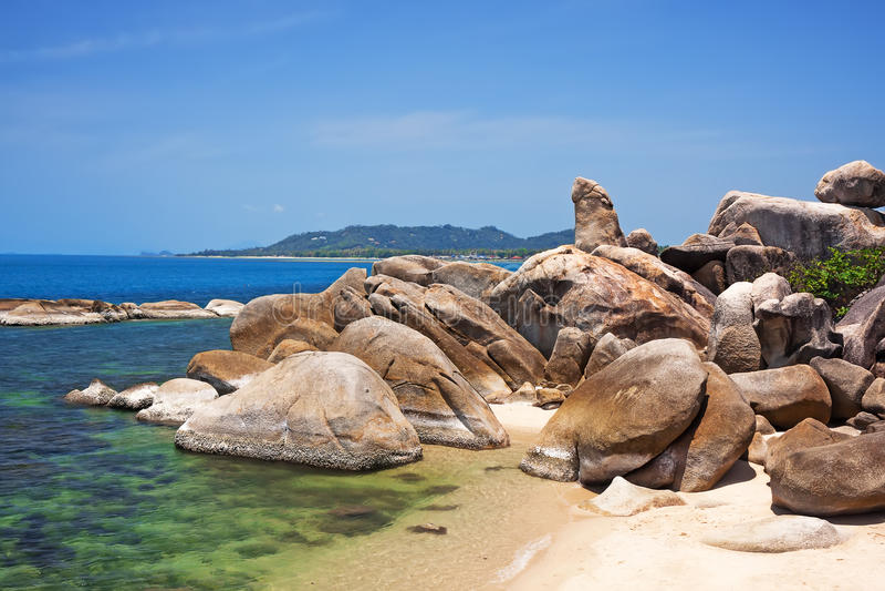 Grandfather rock on Lamai Beach. Koh Samui, Thailand. Famous Grandfather rock on Lamai Beach. Koh Samui, Thailand stock photo