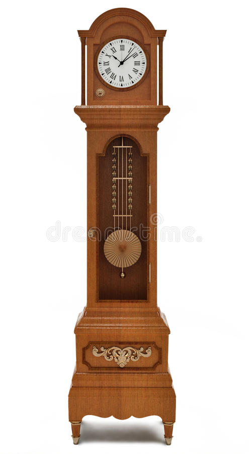 Grandfather's clock on white background. Grandfather's clock with ornament on white background stock illustration