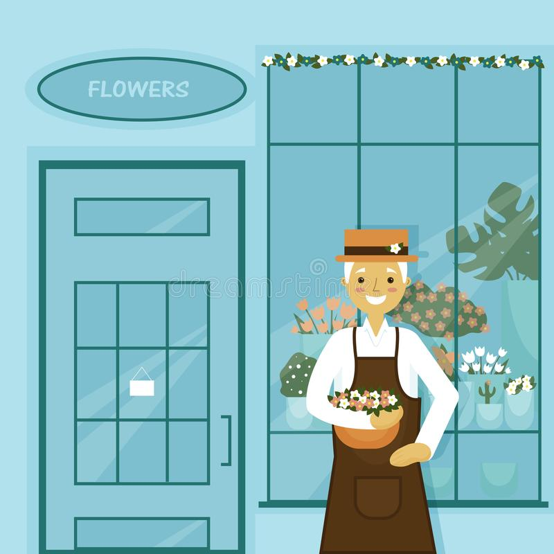 Grandfather`s flower shop with roses, cactus... royalty free illustration