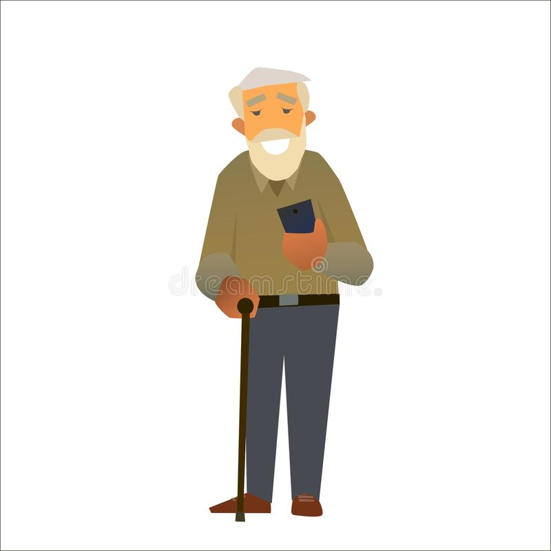 Grandfather is smiling holding smartphone. stock photography