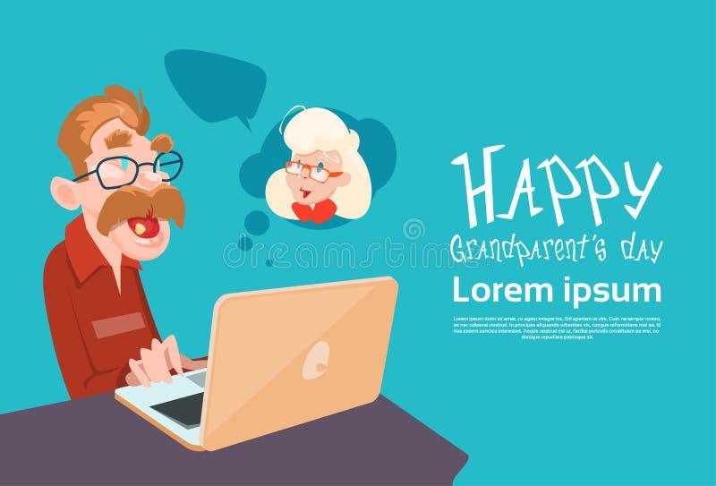 Grandfather Using Laptop Social Network Happy Grandparents Day Banner. Flat Vector Illustration vector illustration