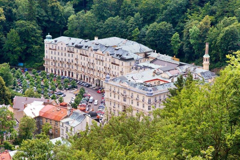 Grandhotel Pupp in kuuroordstad Karlovy varieert, West-Bohemen, Tsjechische republiek stock afbeelding