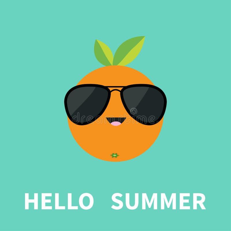 Grandi agrumi arancio con gli occhiali da sole d'uso della foglia Carattere sorridente del fumetto sveglio Ciao cartolina d'augur illustrazione vettoriale