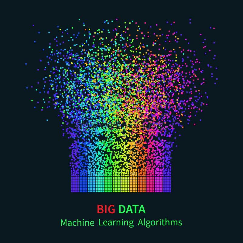GRANDI algoritmi di apprendimento automatico di DATI Analisi di progettazione di Minimalistic Infographics di informazioni Fondo  illustrazione vettoriale