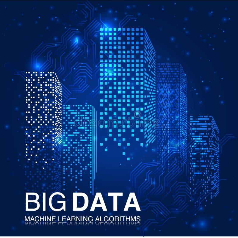 GRANDI algoritmi di apprendimento automatico di DATI Analisi di progettazione di Minimalistic Infographics di informazioni Tecnol illustrazione di stock