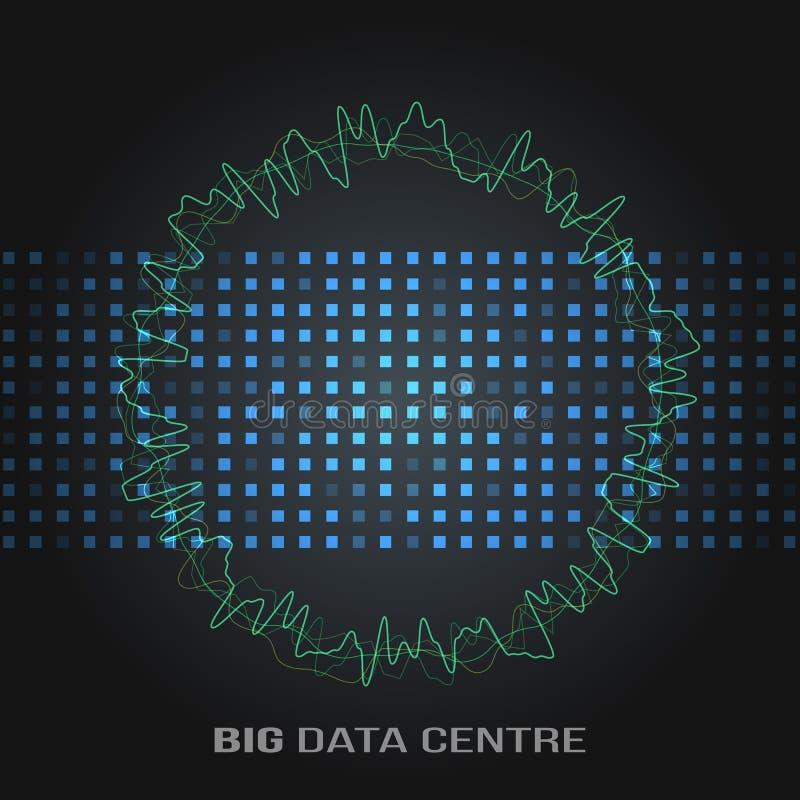 Grandi algoritmi di dati Analisi di progettazione di Minimalistic Infographics di informazioni Scienza, fondo di tecnologia Vetto royalty illustrazione gratis