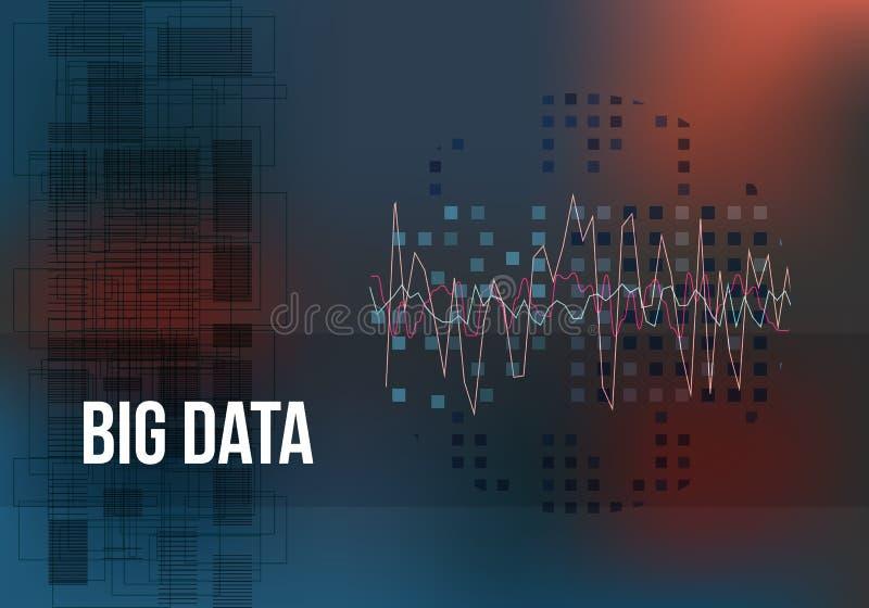 Grandi algoritmi di dati Analisi di progettazione di Minimalistic di informazioni Scienza, fondo di colore di tecnologia Vettore illustrazione di stock