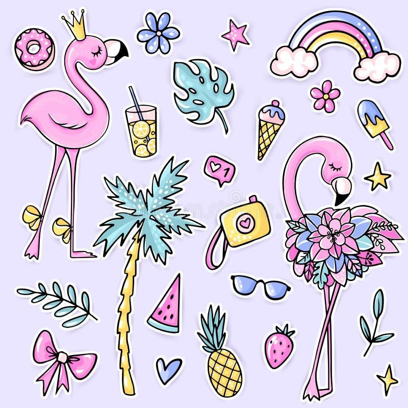 Grandi autoadesivi svegli di estate messi con i fenicotteri, palma, gelato, anguria, occhiali da sole, ananas, macchina fotografi illustrazione vettoriale