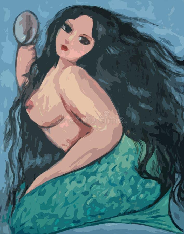 Grandi bei sirena e specchio illustrazione vettoriale
