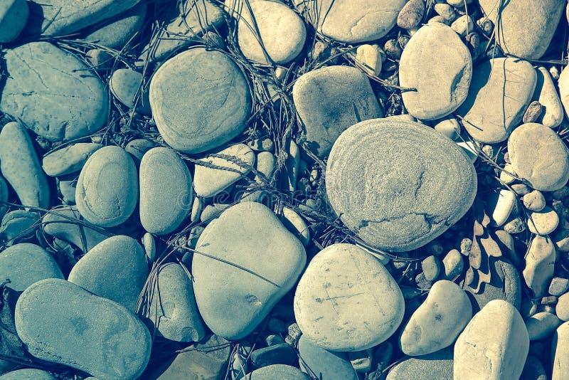 Grandi ciottoli del mare con le piccole particelle di sporcizia sulla superficie immagine stock