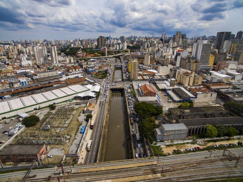 Grandi città, grandi viali, case e costruzioni Distretto leggero Bairro da Luz, sao Paulo Brazil, ferrovia e subw fotografie stock