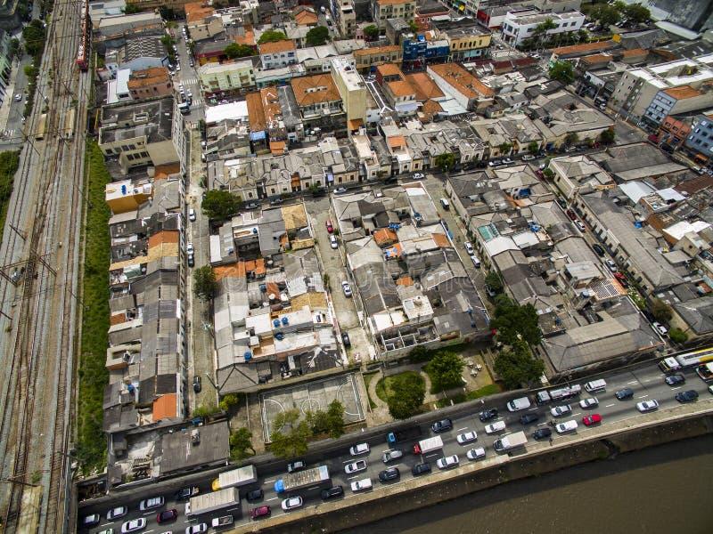 Grandi città, grandi viali, case e costruzioni Distretto leggero Bairro da Luz, sao Paulo Brazil, ferrovia e subw fotografia stock libera da diritti