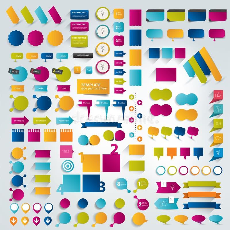 Grandi collezioni di elementi piani di progettazione di infographics illustrazione di stock
