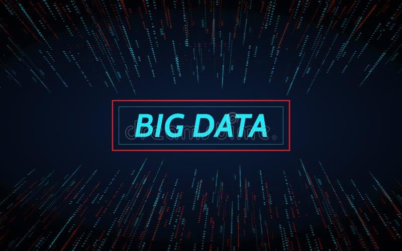 Grandi dati Concetto di rappresentazione di matrice di dati Elemento con i punti Comunicazione astratta grafica del fondo Dati di illustrazione vettoriale