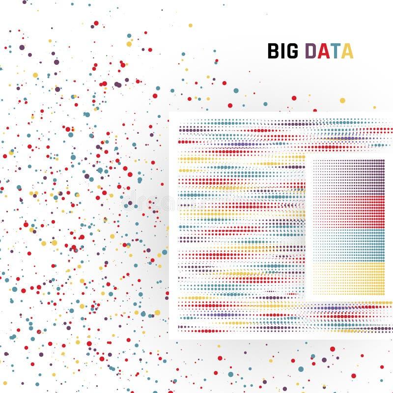 Grandi dati Elaborazione dei dati strutturati e non strutturati dei volumi enormi Vettore illustrazione di stock