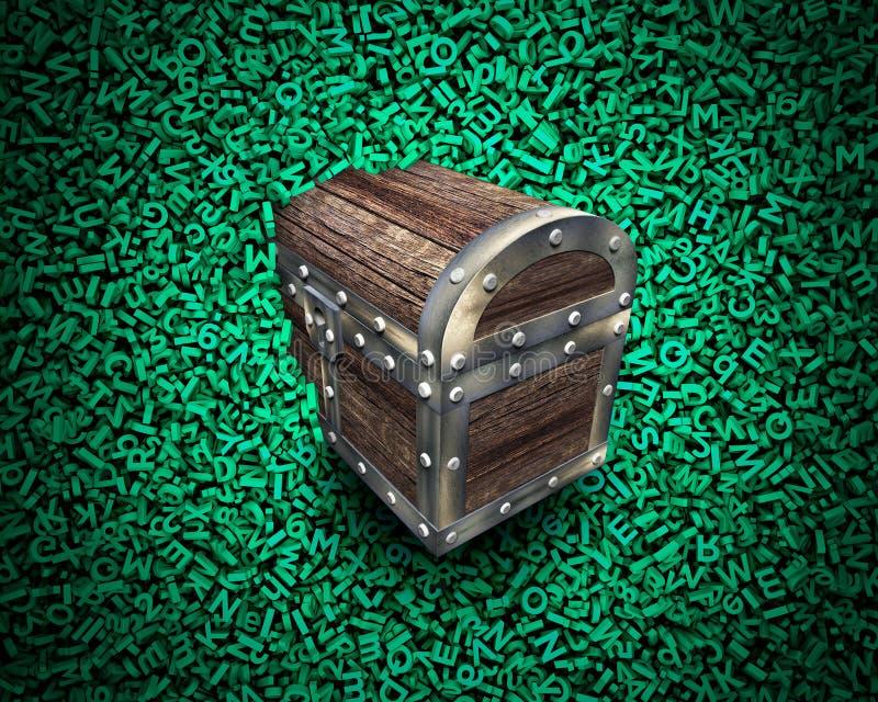 Grandi dati, forziere di legno nel fondo verde enorme dei caratteri royalty illustrazione gratis