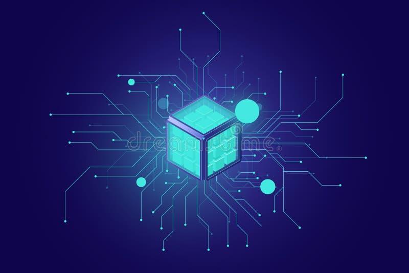 Grandi dati, icona isometrica di ai di intelligenza artificiale, rete neurale, elaborazione delle informazioni, buio di tecnologi illustrazione di stock